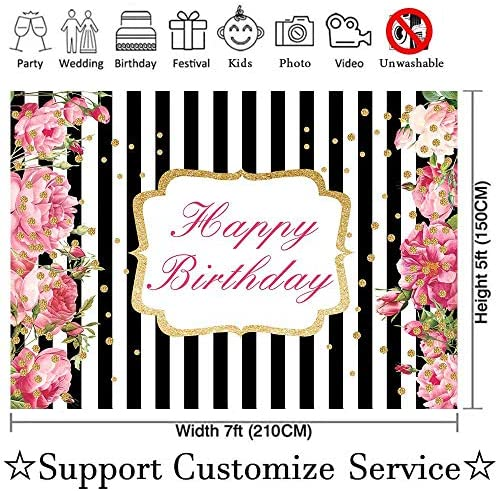 SZZWY 7X5ft Stripes Backdrop Flowers Decorated Black and White Stripes Backdrops Birthday Wedding Adults Party Banner Photo Studio Props LYGE952