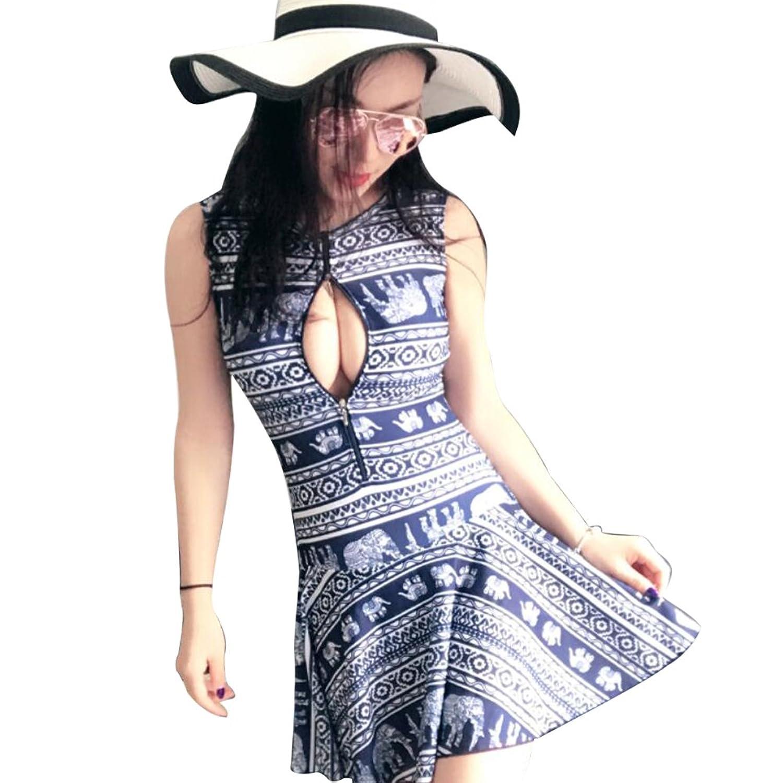 レディースワンピースプラスサイズ水着象パターン印刷スカートスリミングSwimdress with Push Upパッドとジッパー B071R9CGWS