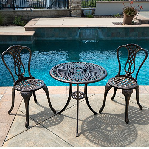 Belleze 3PC Bistro Set Outdoor Patio Furniture Design Cast Aluminum Table and Chair Antique, Bronze (Park In Breakfast Wicker)