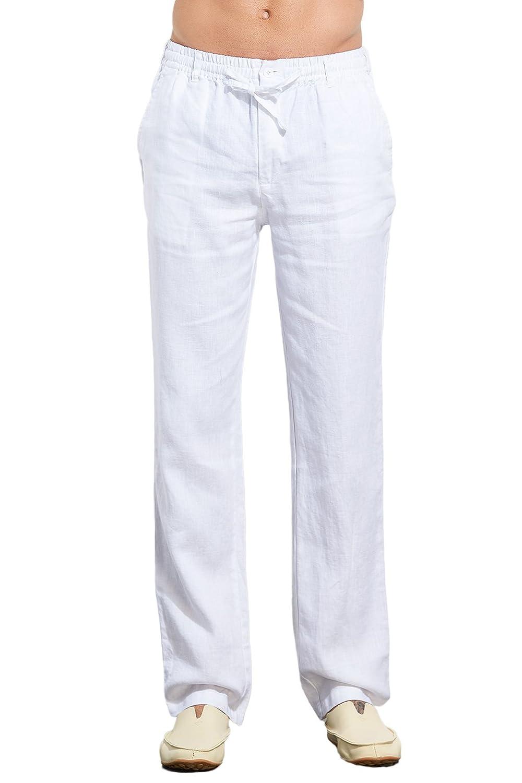 UAISI Leinenhosen für Männer Sommer Lang Leinen Hose Herren Leichte Slim Fit Sommerhose B-Weiß