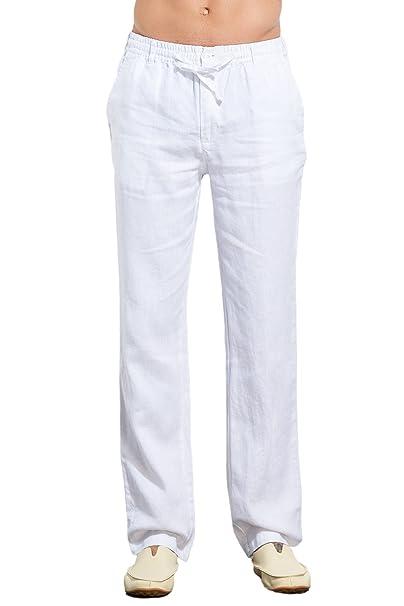 nuovo concetto 8f937 24af9 UAISI Pantaloni Lino Uomo Puro Pantaloni Lino Uomo Bianchi Casual Pantaloni  Leggeri Estivi