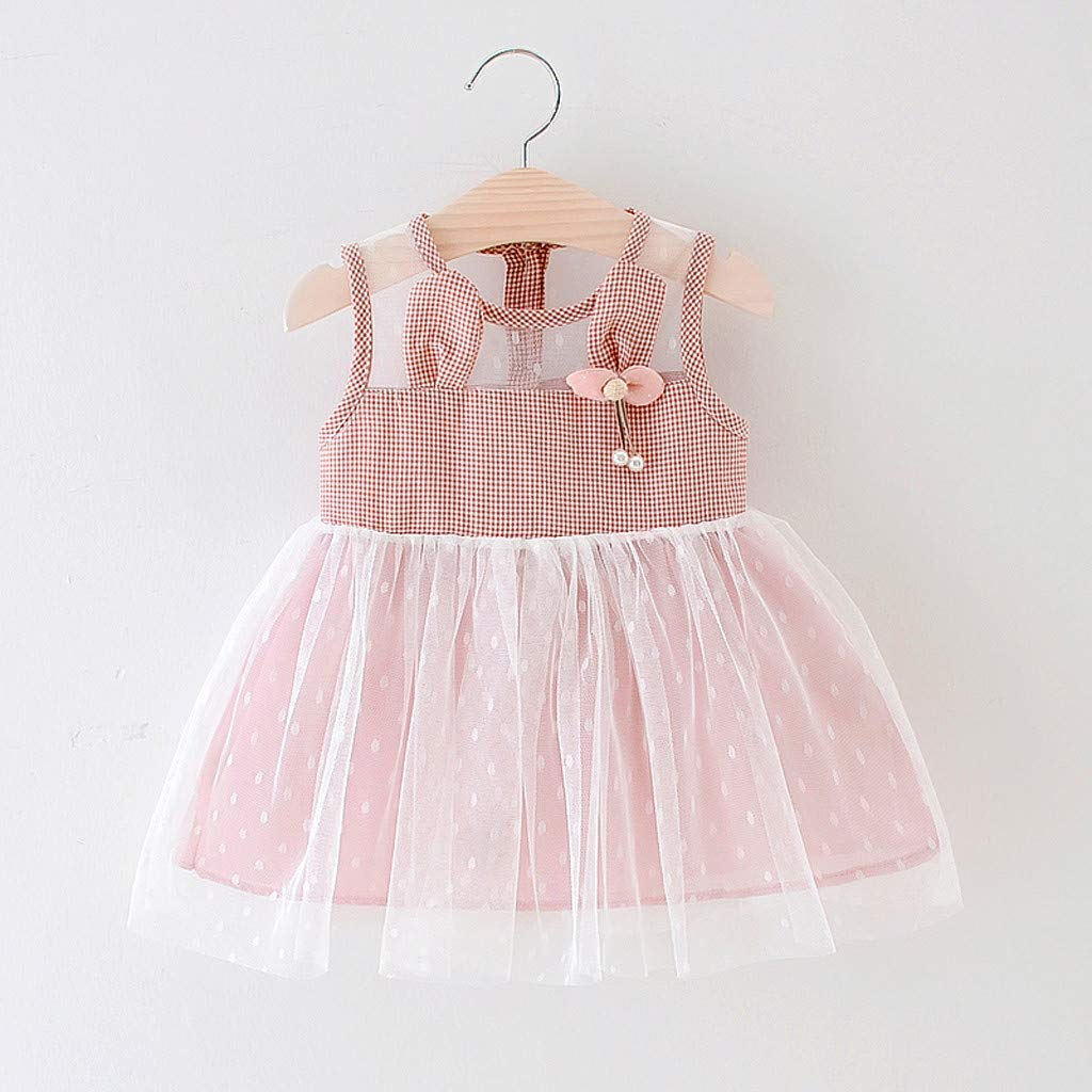 2d365d5893 Amazon.com: RYGHEWE Infant Baby Girls Summer Dress Plaid Rabbit Ears  Sleeveless Tulle Tutu Skirt Clothes Outfits: Office Products