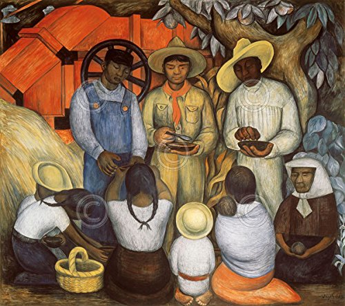 Rare Canvas Art Painting - Triumph of the Revolution- Distribution of Food Diego Rivera Mexican Mexico Print Poster 30x27