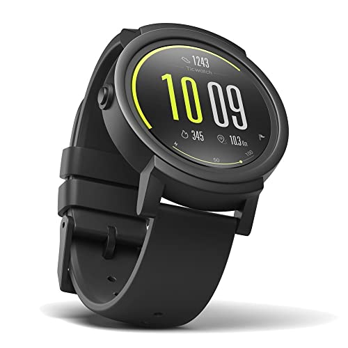 Ticwatch E Shadow Smart Watch, Android Wear 2.0, Heart Rate Monitor, Google assistant, Health and Fitness Tracker