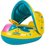 Uleade Cute Baby Float Seat Canopy Yacht Inflatable Pool Kids Swim Ring