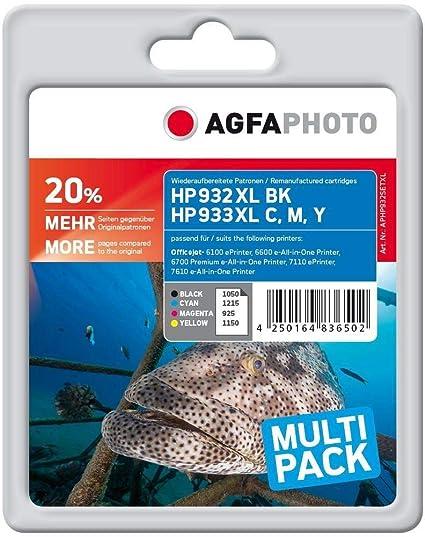 AgfaPhoto APHP932SETXL - Cartuchos de tinta para impresora HP 932XL, 933XL, HP Officejet (color negro, amarillo, cian, magenta)