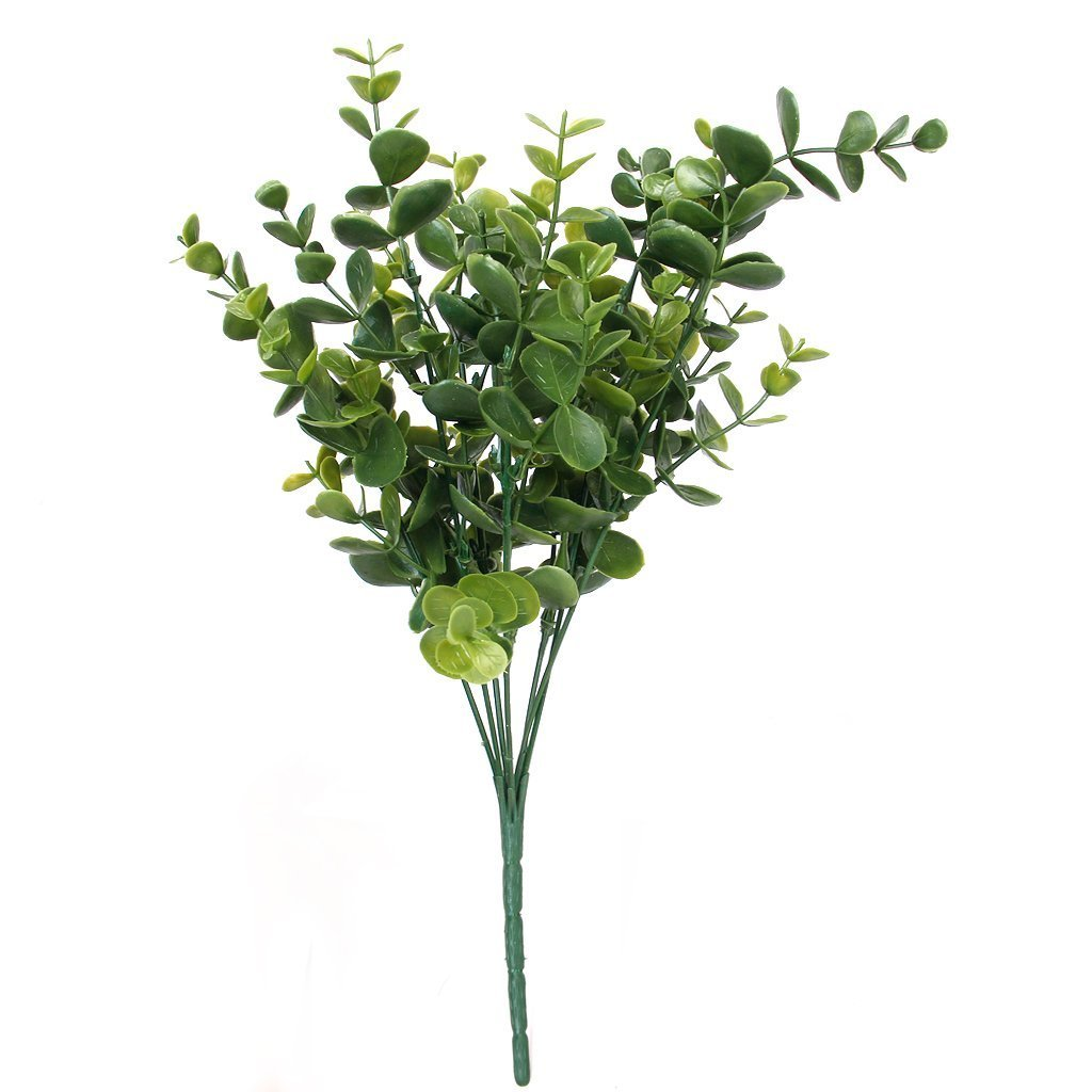 7 Branches Small Plastic Artificial Ivy Plant Green Indoor Potted Artificial Fake Foliage Realistic Hanging Eucalyptus Leaves for Home Outdoor Garden Wedding Wall Decoration Honearn