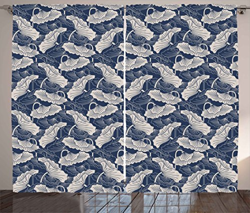Ambesonne Lotus Curtains, Hand Drawn Leaves and Flowers Eastern Culture Plant Zen Themed Garden Earthy, Living Room Bedroom Window Drapes 2 Panel Set, 108W X 96L Inches, Dark Blue Eggshell For Sale