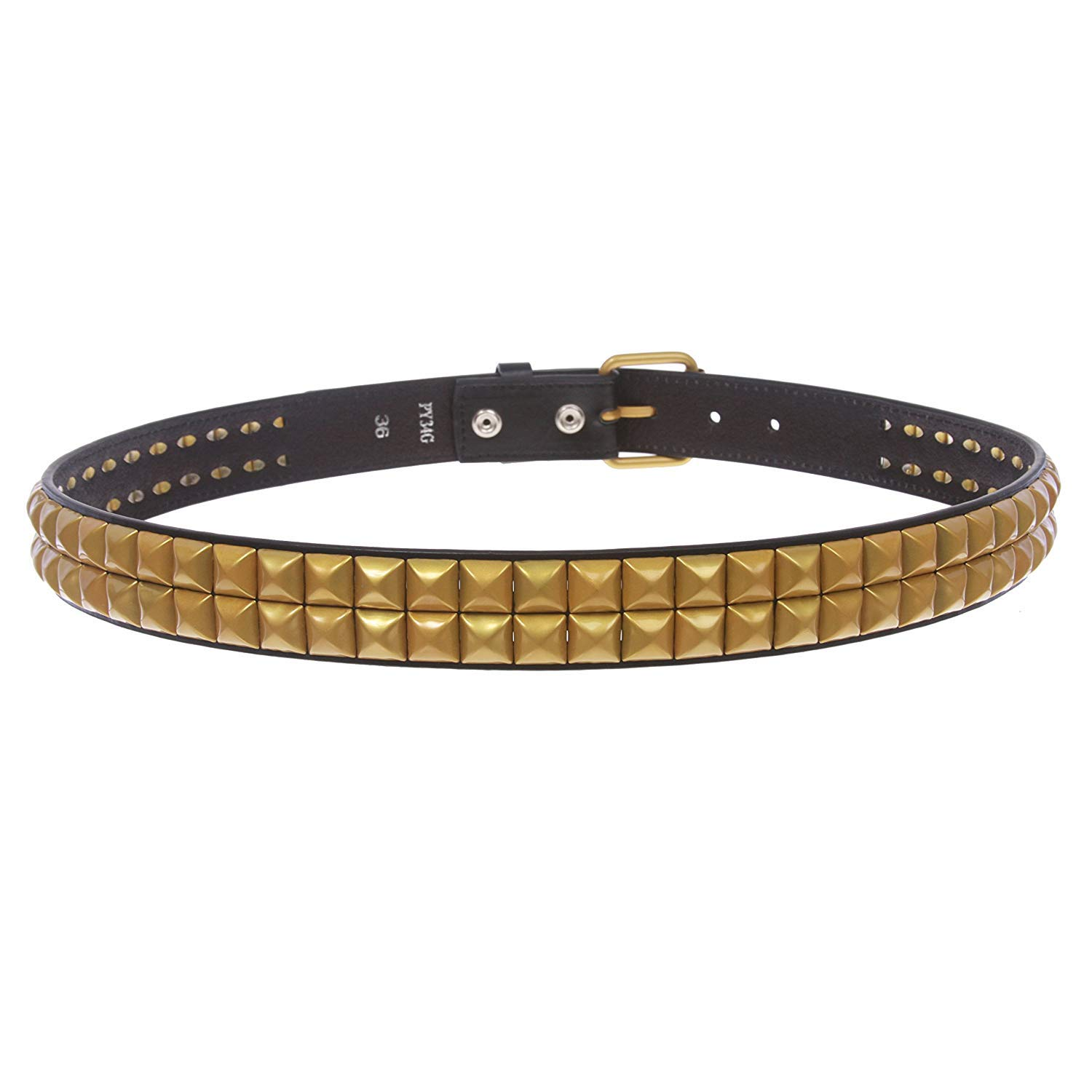 MONIQUE Men Two Row Punk Rock Star Brass Studded Leather Snap On 33mm Belt