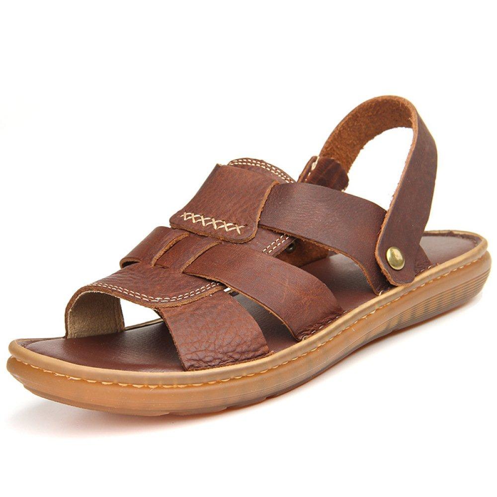Herren Leder Zehe Slip-on Sandalen Sommer Komfort Jungen Strand Sandalen Slipper Schuhe  43 Brown