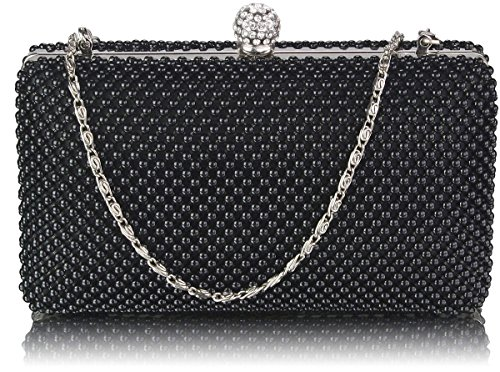 Beaded Clutch Bag Womens Pearl Evening Handbag For Party Wedding Clubs New Arrival Design 1 - Black