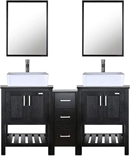 eclife 60 Bathroom Vanity Sink Combo Black W Side Cabinet Vanity White Ceramic Vessel Sink and Chrome Bathroom Solid Brass Faucet and Pop Up Drain, W Mirror T03 2B06