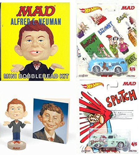 Mad Magazine Hot Wheels & Cheap Bobble-Head of Alfred E. Neuman Mini Kit Garbage Pack Don Martin Bus & Delivery Van Pop Culture Cars 2017 What Me Worry? (Mad Magazine Game)