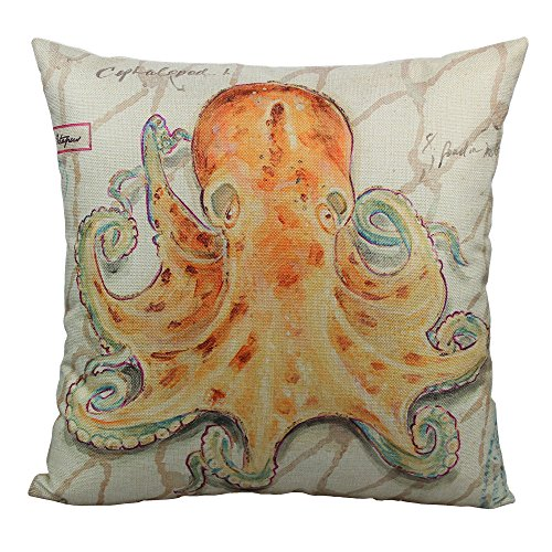 All Smiles Cute Octopus Decor Throw Pillow Cover Case Decorative Ocean Decorations Cushion 18×18 Outdoor for Sofa Couch…