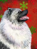 Caroline's Treasures SS4695CHF Keeshond Red and Green Snowflakes Holiday Christmas Canvas House Flag