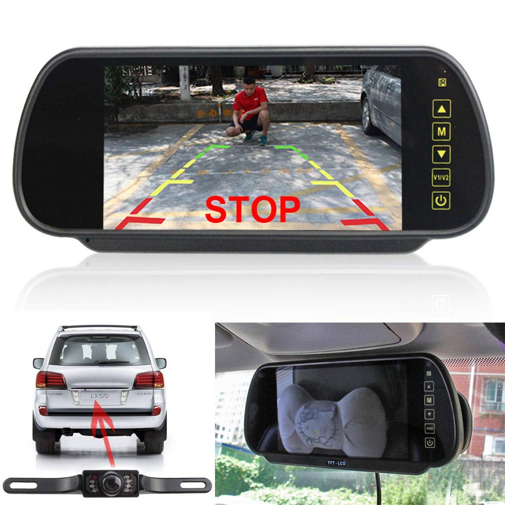 Sonmer 7.0'' LCD Rearview Mirror HD MP5 Display Camera,120° Wide View,Support Night Vision,With 2.4Ghz Wireless Car Reverse Rear View Backup Camera by Sonmer_Car Kit (Image #3)
