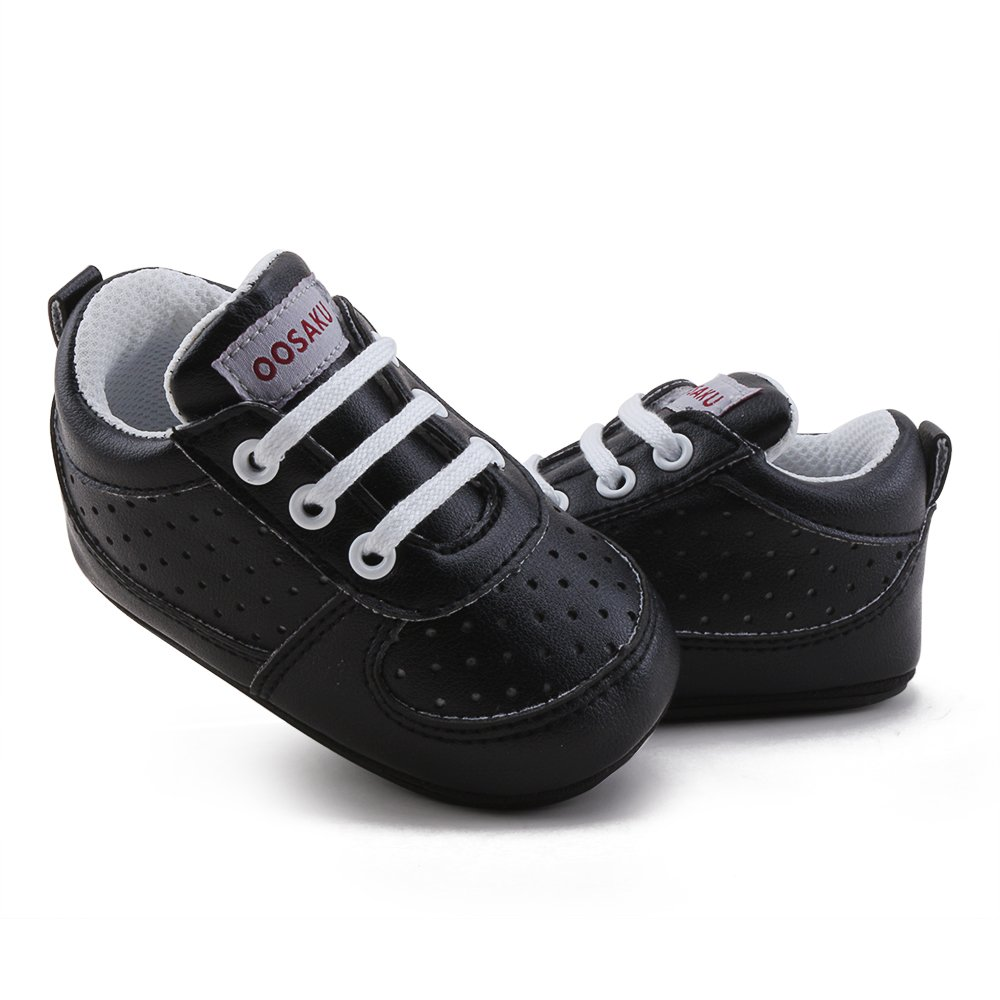 OOSAKU Baby Non-Slip First Walking Shoes Fashion Breathable Rubber Sole Sneaker (6-12 Months, Black) by OOSAKU (Image #3)