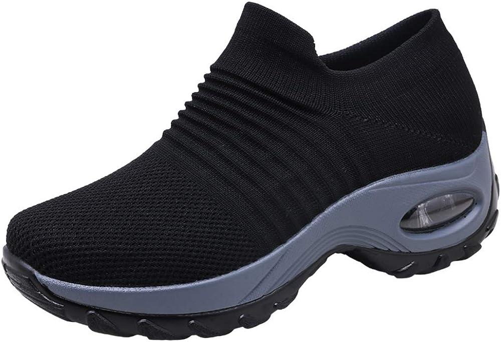 Zapatos Deporte Mujer Zapatillas Deportivas Correr Gimnasio Casual Zapatos para Caminar Mesh Running Transpirable Aumentar Más Altos Sneakers Negro Gris Morado Rojo 35-44