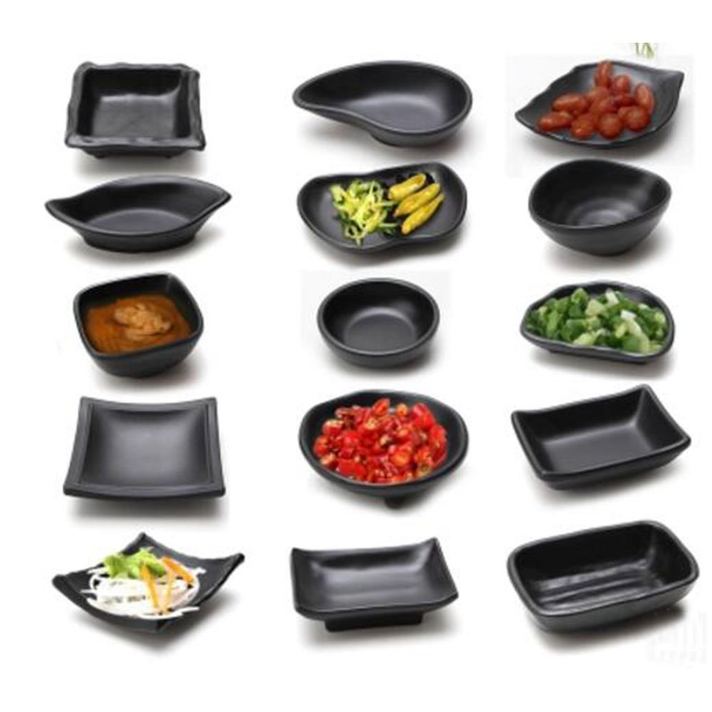 3 PCS Japanese Style Melamine Chafing Dish Soy Sauce Dish Dipping Bowls Side Dishes Plate Canape Plate Black-A23 by George Jimmy (Image #2)