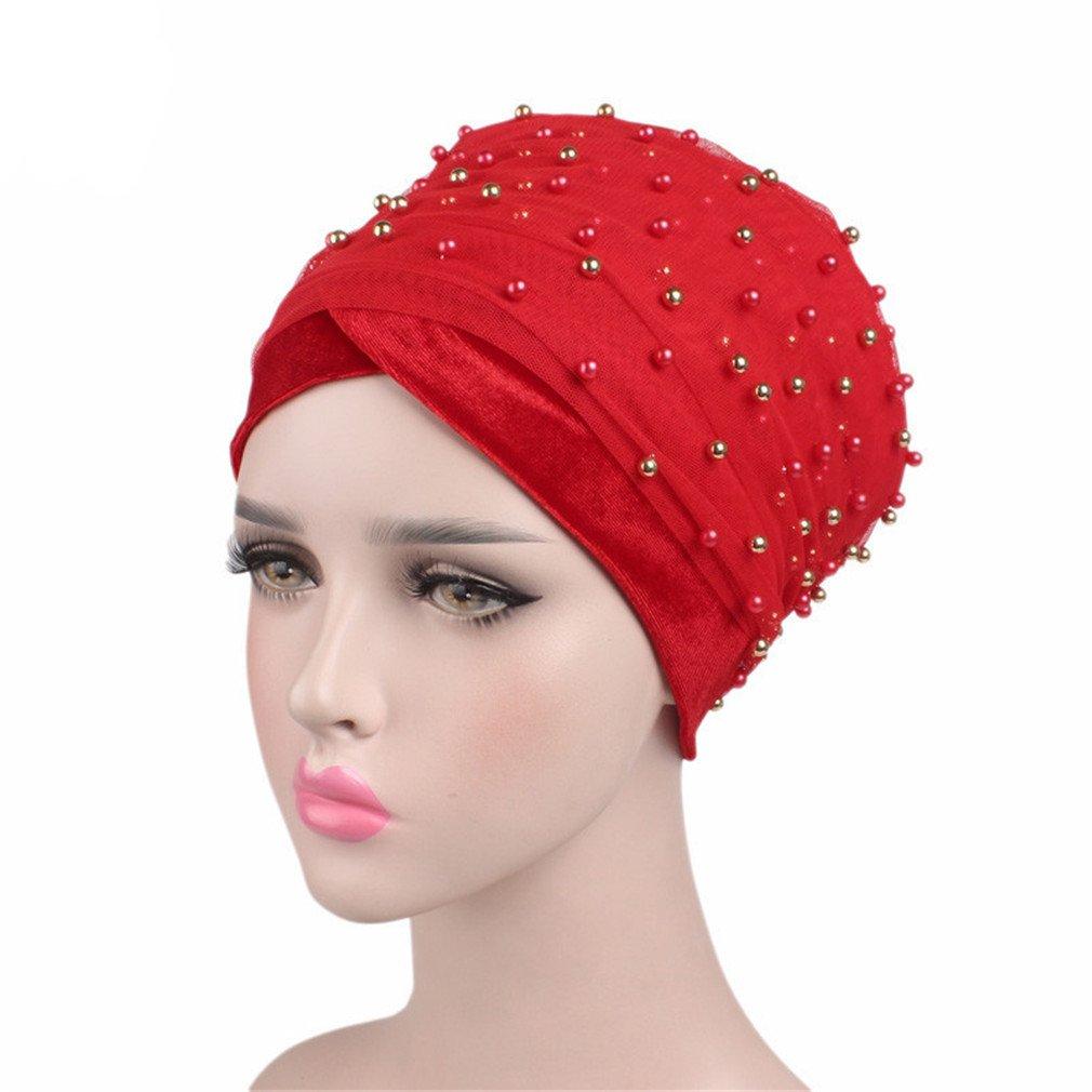 Amazon.com   Long Turban Headband Beaded Pearled Scarf Women Turban Head  Wraps Red   Beauty 8a9609b4425