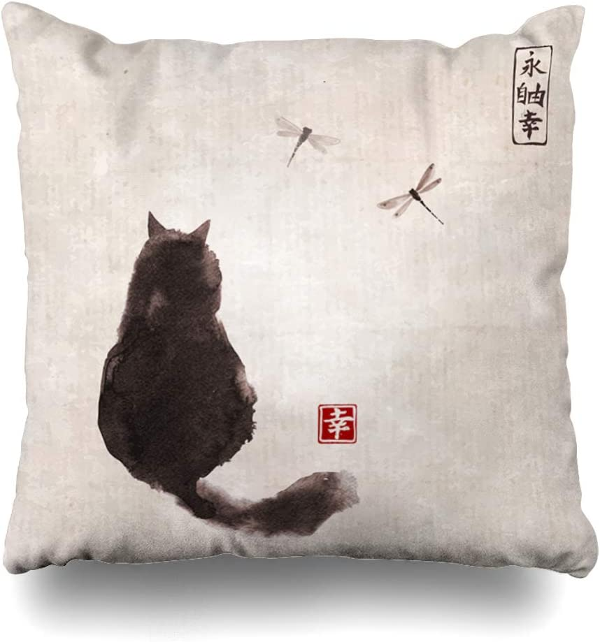 Ahawoso Throw Pillow Cover Square 16x16 Inches Small Black Paper Pet Fluffy On Sumie Over Dragonflies Nature Textures Hieroglyph Graphic Contains Decorative Pillowcase Home Decor Cushion Pillow Case