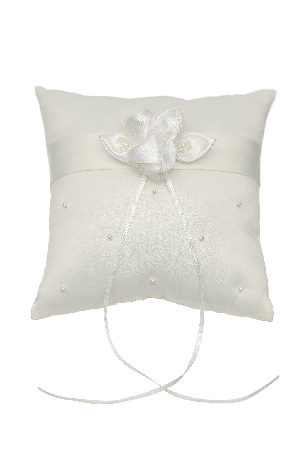 SAMKY Venus Jewelry Rosette Flower Pearls Studded Wedding Ring Bearer Pillow 7 Inch x 7 Inch - Ivory RP005I