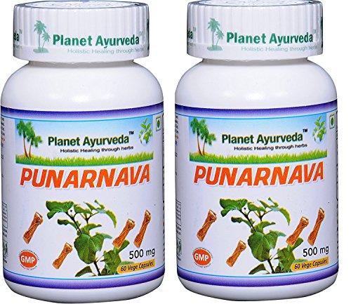 Punarnava – 2 Bottles (Each 60 Capsules, 500 mg) – Planet Ayurveda – US Seller Review