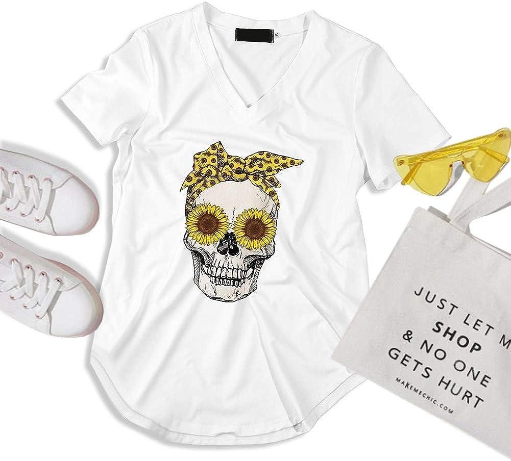 Xingjue T Shirts for Women,Skull Printed t Shirts,White,Black,Grey