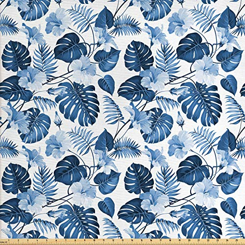 Lunarable Leaf Fabric by The Yard, Palm and Mango Tree Branch and Hawaiian Hibiscus Flower Image, Decorative Fabric for Upholstery and Home Accents, 3 Yards, Pale Blue Turquoise and Dark Blue