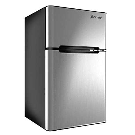 Amazon Com Costway Compact Refrigerator 3 2 Cu Ft Unit Small Freezer Cooler Fridge Grey Appliances