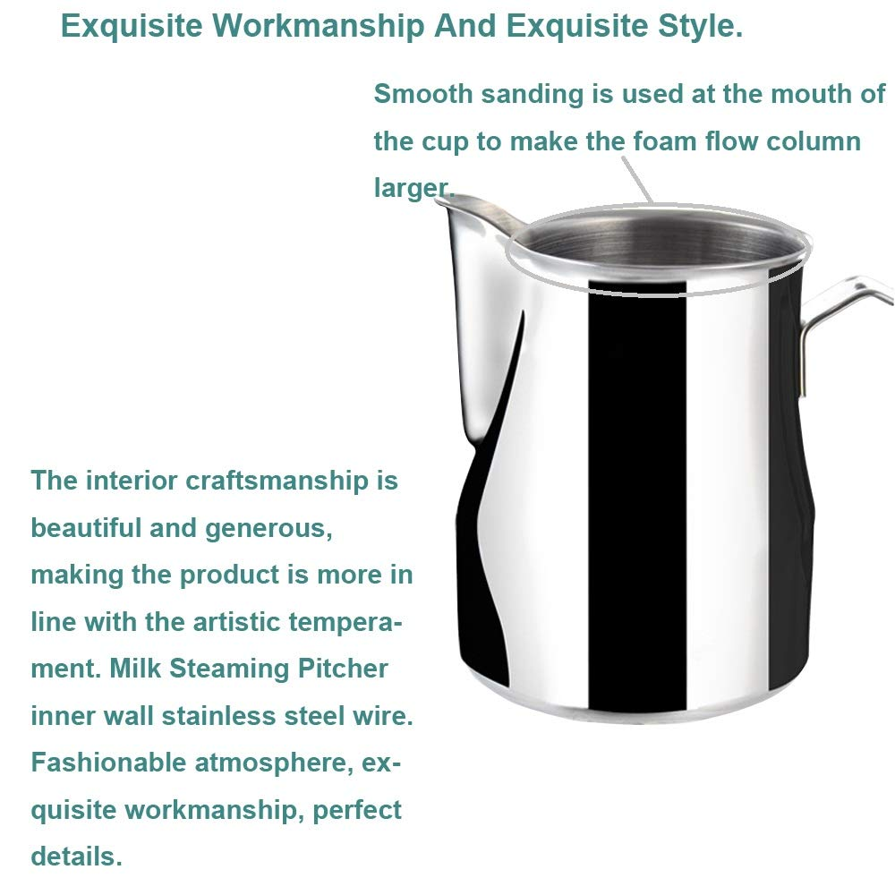 Frothing Pitcher Lengthen Mouth Handheld Milk Frothing Pitcher, 18/10 Stainless Steel 20oz/600ml Streamlined Milk Steaming Frothing Pitcher Body Suitable for Coffee, Latte Art And Frothing Milk Perfect for Espresso Machines by HENGRUI (Image #5)