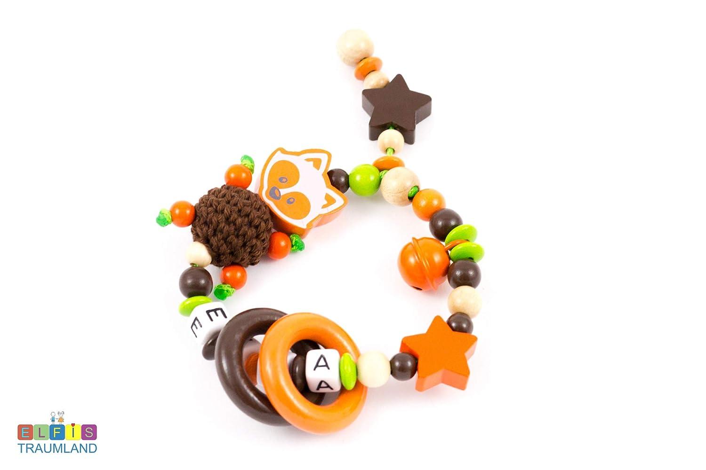 e515ab53c88670 Greifring Rassel mit Namen    Mädchen Junge    Fuchs Sterne    orange braun  natur