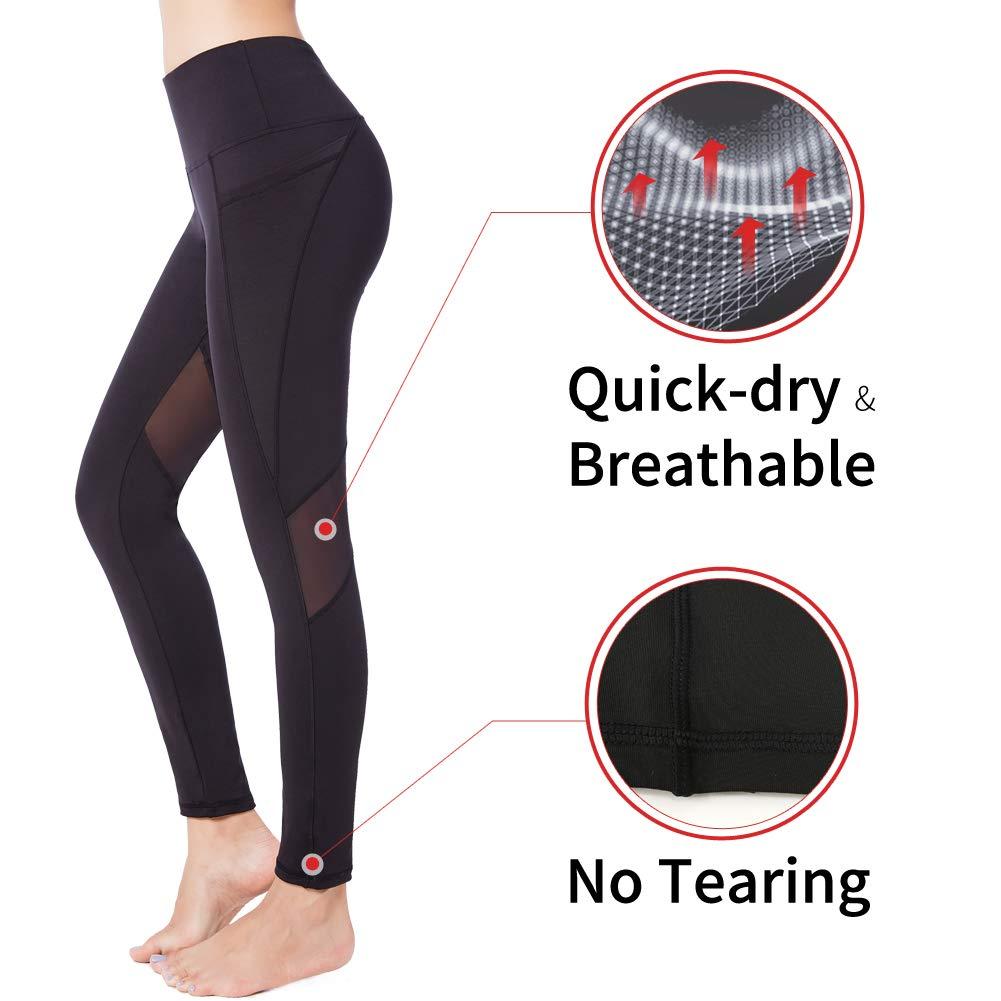 Picotee Women's Yoga Pants Workout Capri Leggings Running Long Tights w Side Pocket(Large, Long Pants-Black Mesh)