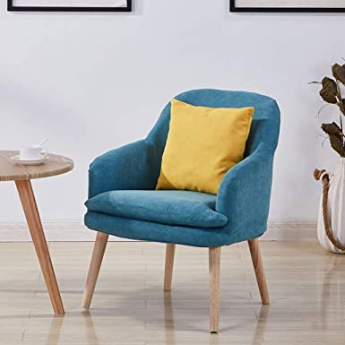 Amazon.com: ZHAO XIN Wooden Sofa Chair, Modern Linen Armchair,Fully Removable Cotton Linen,Oak Load-Bearing Feet, Suitable For Living Room,Coffee Shop (Color : Blue): Sports & Outdoors