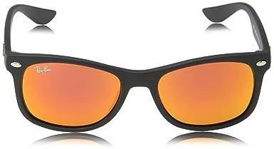 Ray-Ban Unisex Sonnenbrille RJ9052S, Gr. Medium (Herstellergröße: 48), Schwarz (Gestell: Schwarz, Gläser: Rot Verspiegelt 100S6Q)