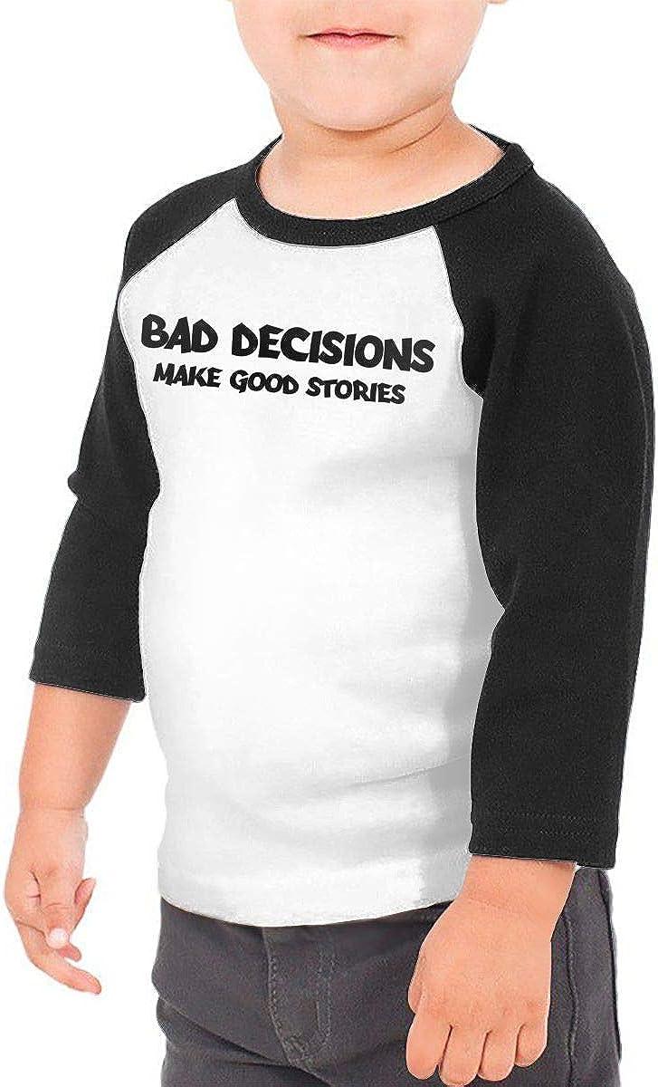 Kocvbng I Bad Decisions Make Good Stories Raglan 3//4 Sleeve Shirt for Girls Boys