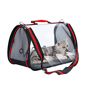 Portátil Mascota Transparente Viajar Bolso Gato Perro Respirable Portador Totalizador Excursión Hombro Bolso Bolso para Fácil Llevar Equipaje.