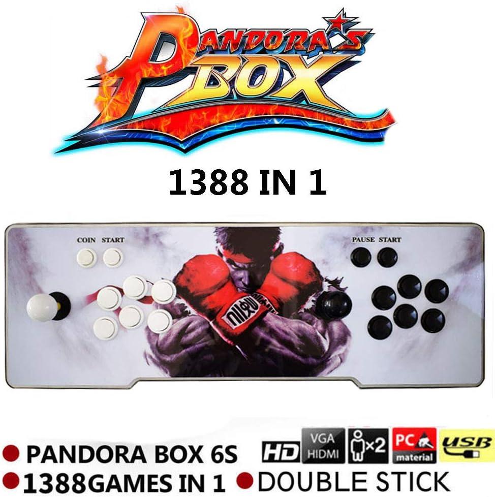 supertop 1388 en 1 Caja de Pandora 6s Retro Video Games Arcade Consola de Juegos Double Stick Arcade Console Light Arcade Machine Joystick Versión Inglesa