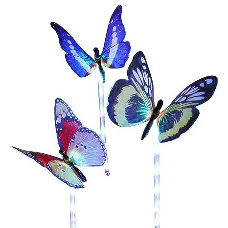 Contever 3 Unids Lámpara de Mariposa Solar Multicolor Cambio de Fibra óptica Mariposa Luces Decorativas LED