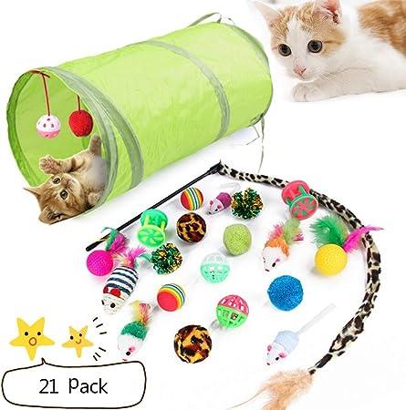 LIANGZHI Juguetes para Gatos Ratones para Gatos Ratón Plumas túnel para Gatos Bolas Varias Campanas Haz Gatos más Felices(21 Unids): Amazon.es: Hogar