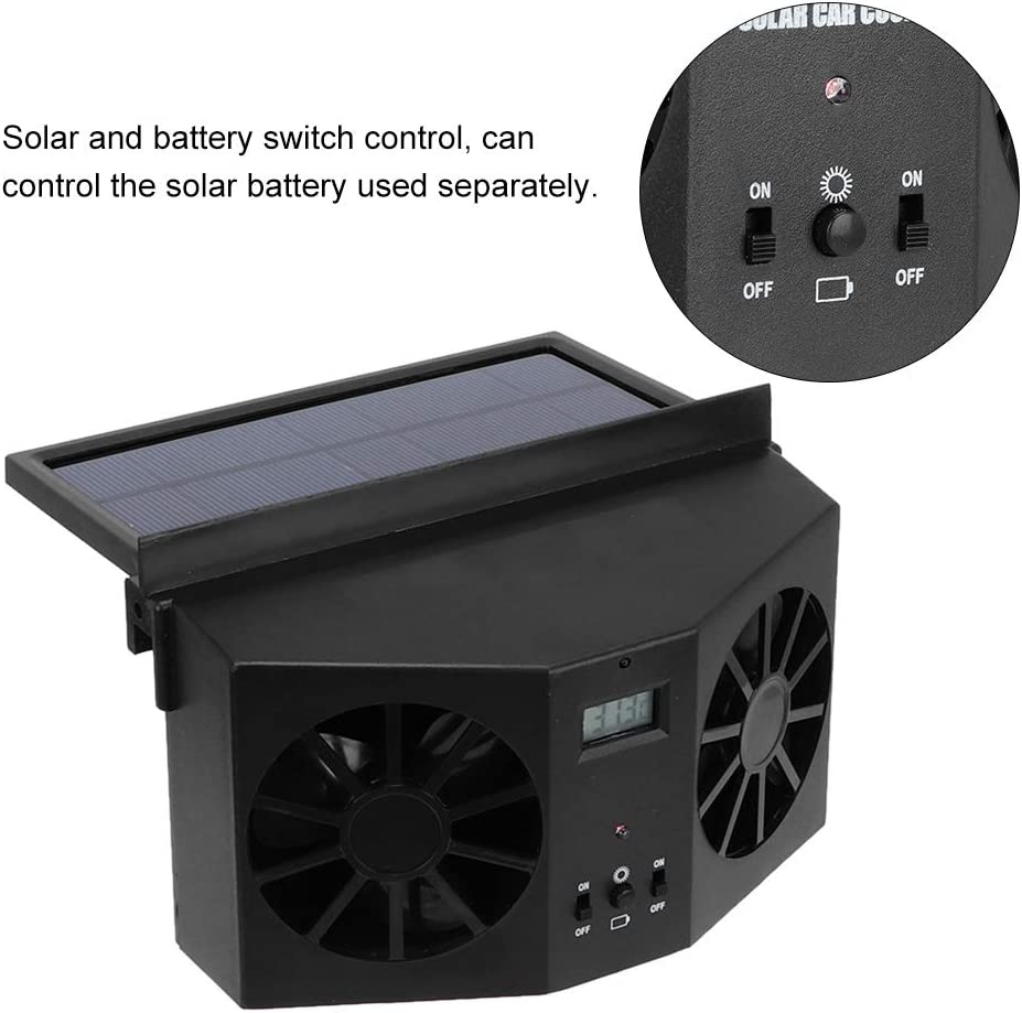 Nero Mini portatile Ventilatore solare per auto Ventilatore per auto Ventilatore incorporato Batteria ricaricabile per auto solare Dispositivo di raffreddamento per auto Ventilatore nero