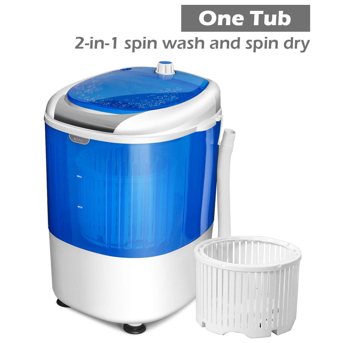 COSTWAY Washing Machine Blue Rotary Controller and Washer Spin Dryer with Hose Electric Compact Laundry Machines Portable Durable Design Washer Energy Saving