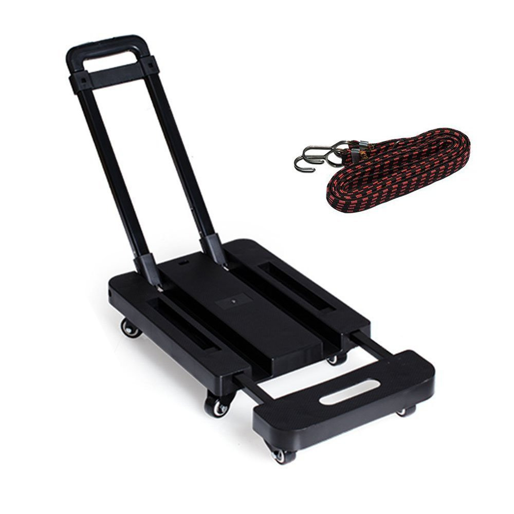 SUPOW Folding Hand Truck and Dolly, 6 Wheels 440 lb Load Foldable Luggage Cart Hand Collapsible Platform Trucks with Free Rope for Shopping, Delivery Cargos, Moving House, Travel Ect
