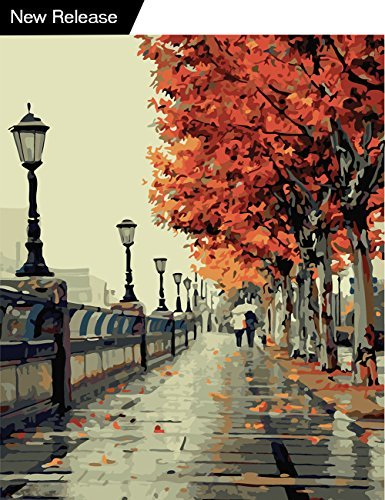 DIY Oil Canvas Painting,Paintwork Paint by Number Kits for Adults Kids Beginner - Romantic Love Autumn 1620 Inch (Frameless)
