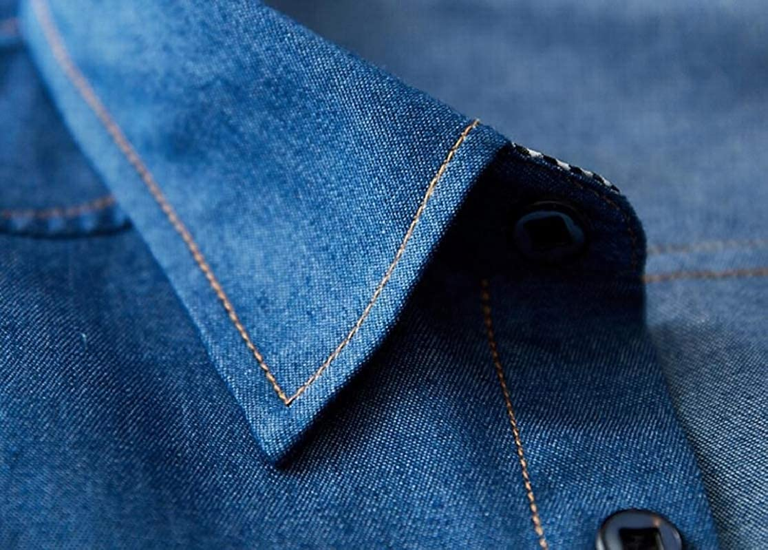 M/&S/&W Mens Slim Fit Long Sleeve Casual Jean Denim Button Down Dress Shirts