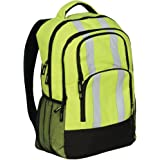 "AW Direct AWB02 Durable Hi-Vis Backpack with 4 Double-Zipper Pockets, 1x Inside Zip Pocket, 2x Outer Mesh Pockets & Adjustable Padded Straps 13.5""W x 18.5""H x 6.5""D Lime/Black with Reflective Stripes"
