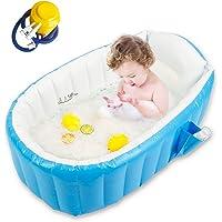 Baby Inflatable Bathtub, Goodking Portable Infant Toddler Bathing Tub Non Slip Travel Bathtub Mini Air Swimming Pool Kids Thick Foldable Shower Basin with Air Pump, Blue