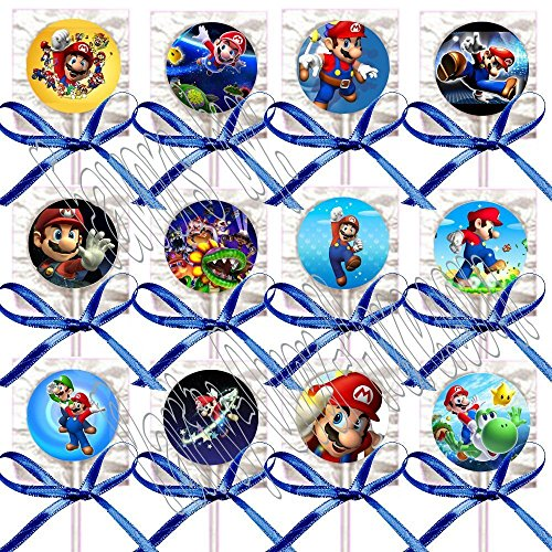 Super Mario Bros. Lollipops Party Favors Supplies Decorations Video Game Lollipops Suckers with Dark Blue Ribbon Bows Favors -12 pcs