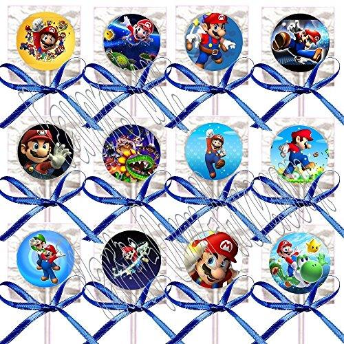 Super Mario Bros. Lollipops Party Favors Supplies Decorations Video Game Lollipops Suckers with Dark Blue Ribbon Bows Favors -12 pcs ()