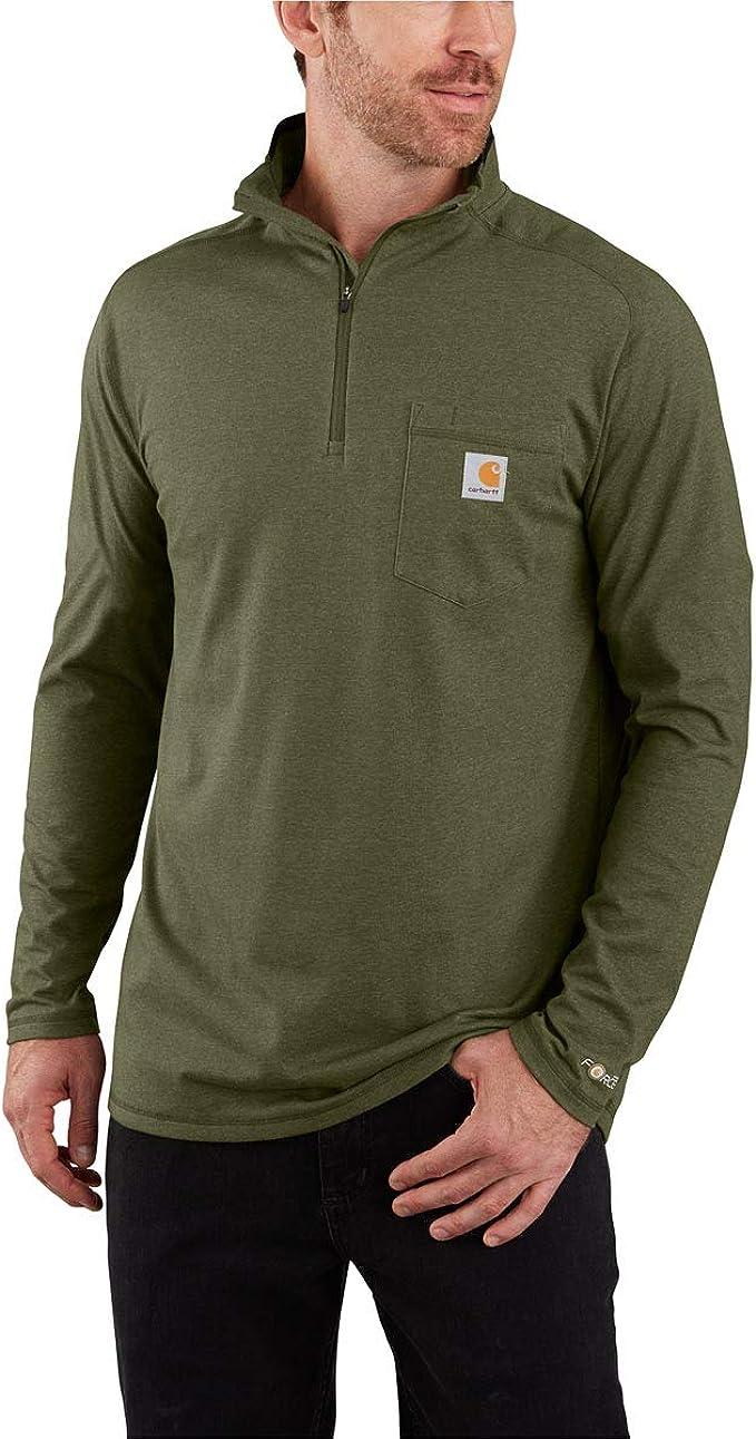 Carhartt Mens Force Relaxed Fit Long Sleeve Quarter Zip Pocket T-Shirt Work Utility T-Shirt